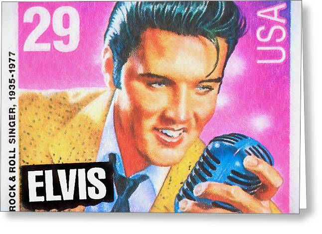 Postal Greeting Cards - Elvis Commemorative Stamp January 8th 1993 Painted  Greeting Card by Rich Franco