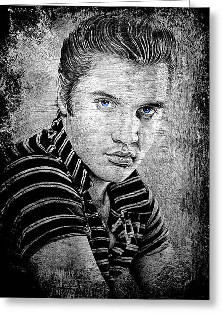1960s Movie Stars Greeting Cards - Elvis dark slate Greeting Card by Andrew Read