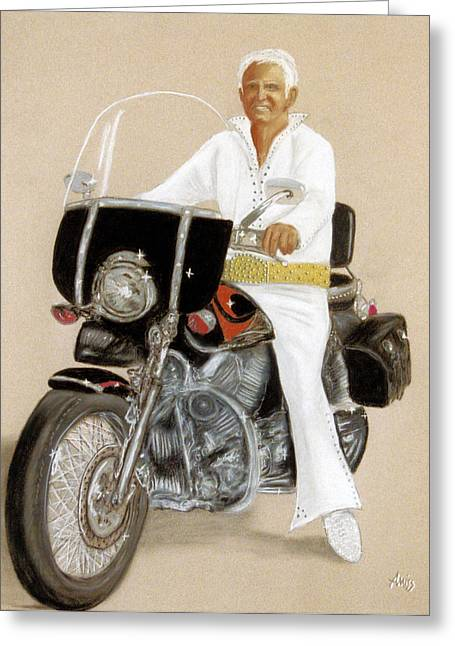 Motorcycles Pastels Greeting Cards - Elvis Giles Rides Again Greeting Card by Jan Amiss