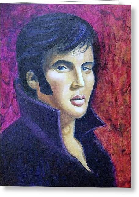 Sideburns Paintings Greeting Cards - Elvis in Purple Greeting Card by Suzanne  Marie Leclair
