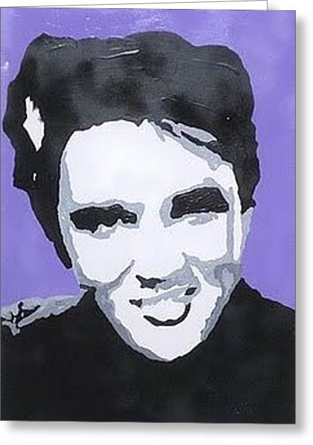 Silhouettes Of Famous People Drawings Greeting Cards - Elvis In True Color Greeting Card by Robert Margetts