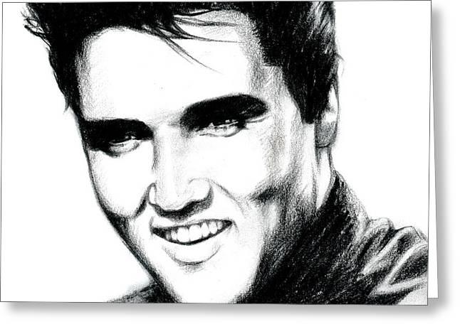 Elvis Greeting Card by Lin Petershagen
