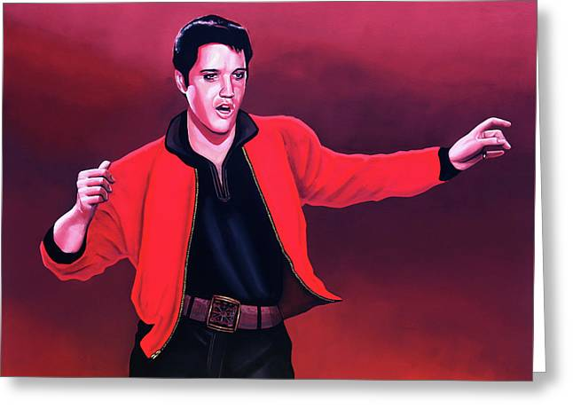 Elvis Presley 4 Painting Greeting Card by Paul Meijering