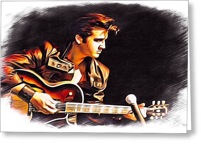 70s Music Greeting Cards - Elvis Presley Color Sketch Greeting Card by Scott Wallace