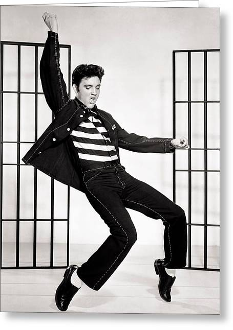 1950s Tv Greeting Cards - Elvis Presley in Jailhouse Rock 1957 Greeting Card by Mgm