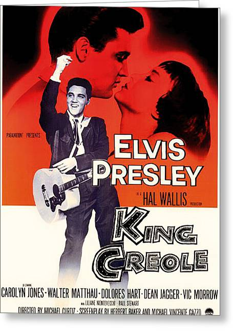 Musical Film Mixed Media Greeting Cards - Elvis Presley in King Creole 1958 Greeting Card by Mountain Dreams