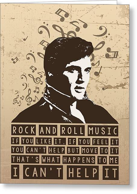 Bob Dylan Print Greeting Cards - Elvis Presley Portrait Typography Greeting Card by Florian Rodarte