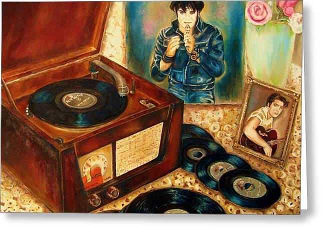 Your Pet Artist Greeting Cards - Elvis Presley Still Number One Greeting Card by Carole Spandau