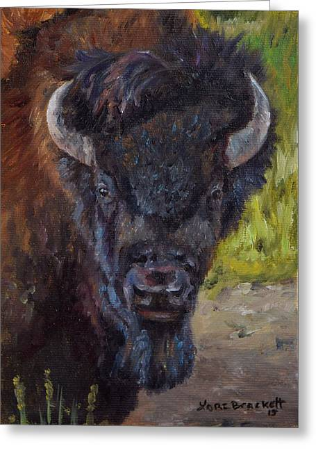 The American Buffalo Paintings Greeting Cards - Elvis the Bison Greeting Card by Lori Brackett