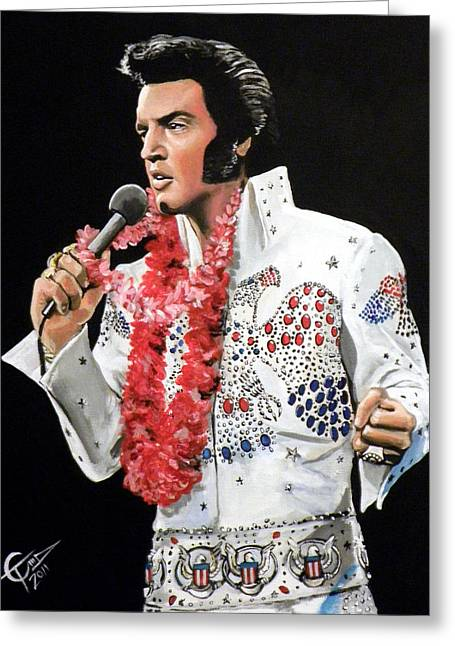 Presley Greeting Cards - Elvis Greeting Card by Tom Carlton