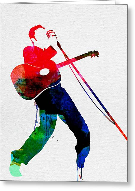 Disco Greeting Cards - Elvis Watercolor Greeting Card by Naxart Studio