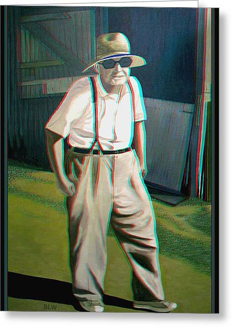 Suspenders Greeting Cards - Elwood - 2D-3D Anaglyph Conversion Greeting Card by Brian Wallace
