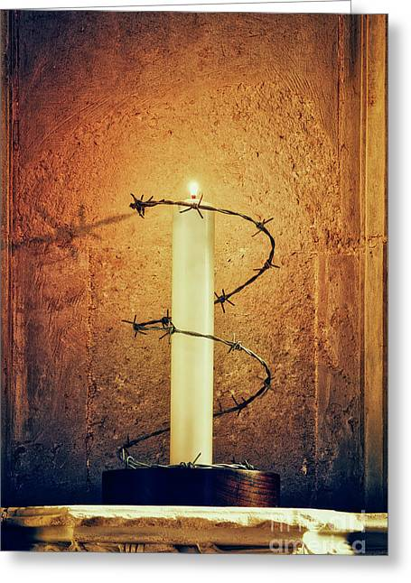 Ely Cathedral Amnesty Candle Greeting Card by Tim Gainey