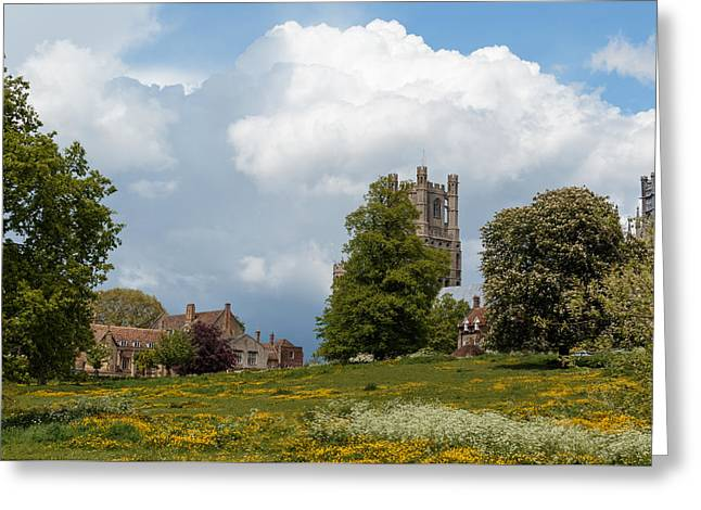 Wooden Ship Greeting Cards - Ely cathedral and park Greeting Card by Katey jane Andrews