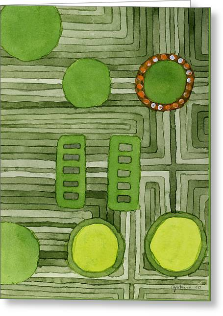Abstract Shapes Greeting Cards - Embedded in Green Greeting Card by Heidi Capitaine