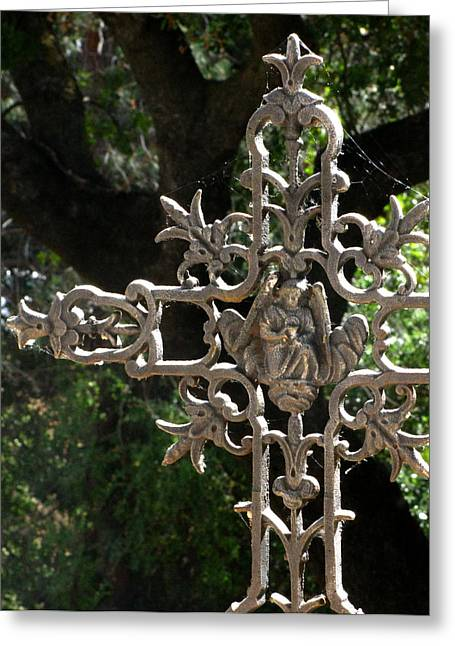 Headstones Greeting Cards - Embellished Cross Greeting Card by Peter Piatt