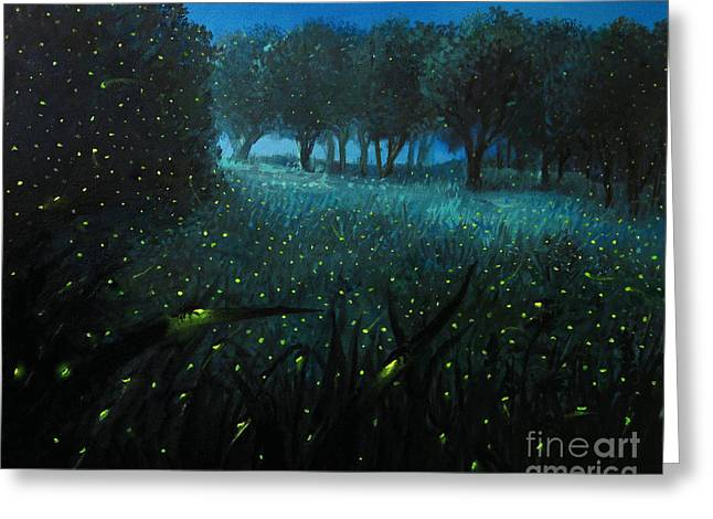 Evening Lights Paintings Greeting Cards - Ember of Life Greeting Card by Kiril Stanchev