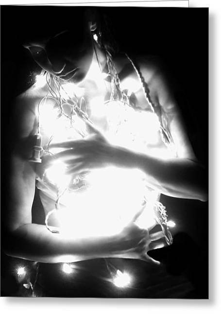 Self-portrait Photographs Greeting Cards - Embracing Light - Self Portrait Greeting Card by Jaeda DeWalt