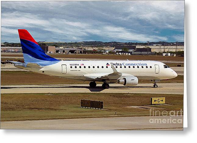 Embraer Erj-170-100se Shuttle America And Delta Connection In San Antonio Greeting Card by Wernher Krutein