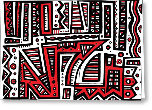 Hope You Enjoy . Greeting Cards - Embrocation Abstract Art Red White Black Greeting Card by Eddie Alfaro