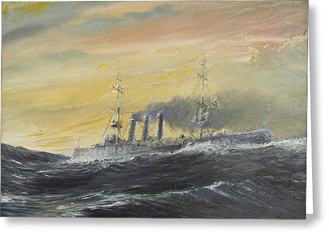 Wwi Paintings Greeting Cards - Emden rides the waves Greeting Card by Vincent Alexander Booth