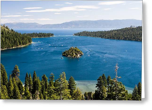 Emerald Bay And Wizard Island At Lake Tahoe In California  Greeting Card by Priya Ghose