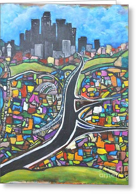 Roadway Greeting Cards - Emerald City Greeting Card by Chaline Ouellet