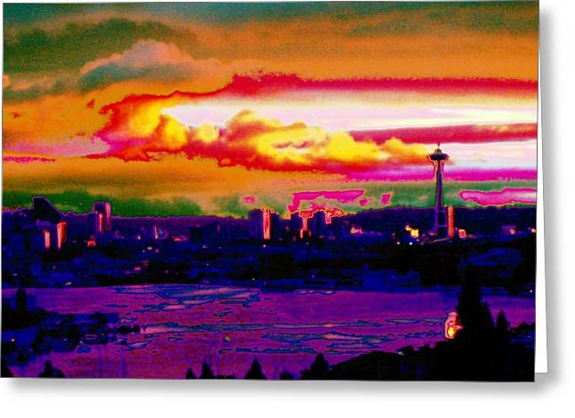 Absract Greeting Cards - Emerald City Sunset Greeting Card by Tim Allen