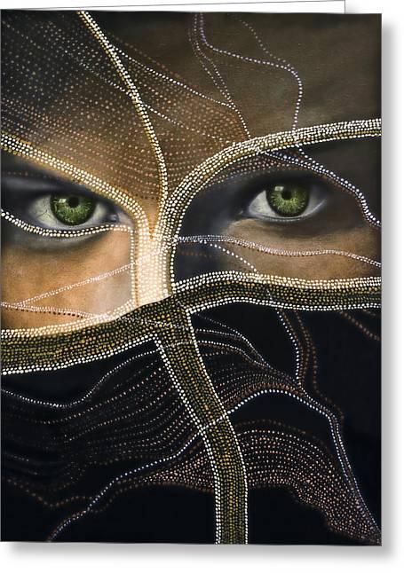 Emerald Eyes Greeting Card by Joachim G Pinkawa