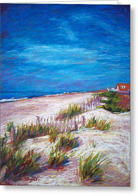 Atlantic Beaches Pastels Greeting Cards - Emerald Isle Dunes Greeting Card by Bethany Bryant