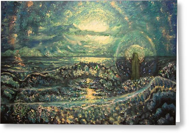 Religious Paintings Greeting Cards - Emerald Maria Greeting Card by Aleksei Gorbenko
