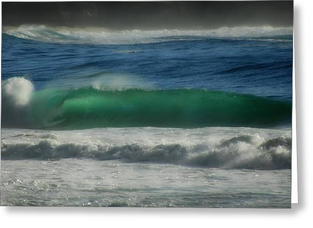 Blue Green Wave Greeting Cards - Emerald Sea Greeting Card by Donna Blackhall