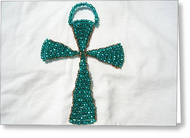 Glass Beads Glass Art Greeting Cards - Emerald Wall Hanging Glass Beaded Suncatcher Copper Cross Greeting Card by Serendipity Pastiche