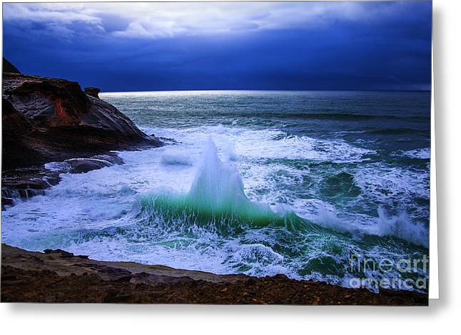 Emerald Wave Greeting Card by Jerry Cowart