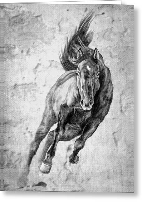 Cowgirl And Cowboy Greeting Cards - Emergence Galloping Black Horse Greeting Card by Renee Forth-Fukumoto