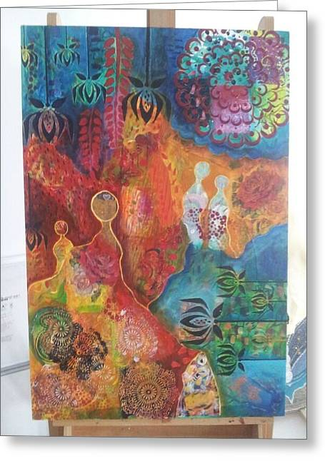 Emergence Paintings Greeting Cards - Emergence Greeting Card by Rashmi Ranganath