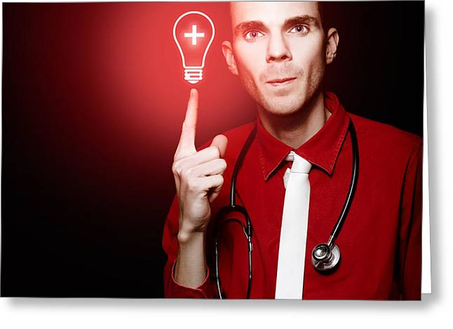 Ideas Infectious Greeting Cards - Emergency Room Doctor Signalling Red Alert Crisis Greeting Card by Ryan Jorgensen