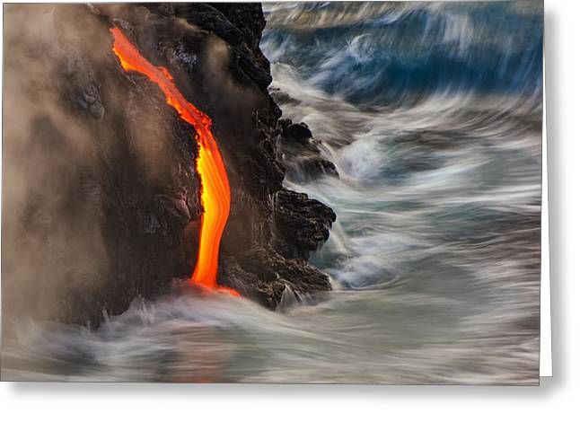 Volcano Greeting Cards - Emergent Greeting Card by Andrew J. Lee