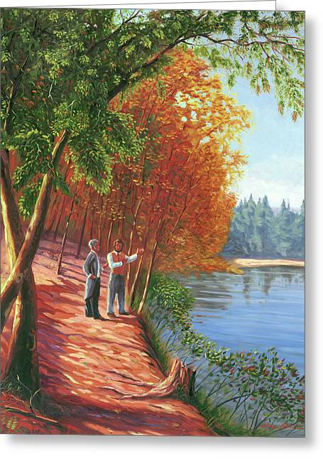 Walden Pond Paintings Greeting Cards - Emerson and Thoreau at Walden Pond Greeting Card by Steve Simon