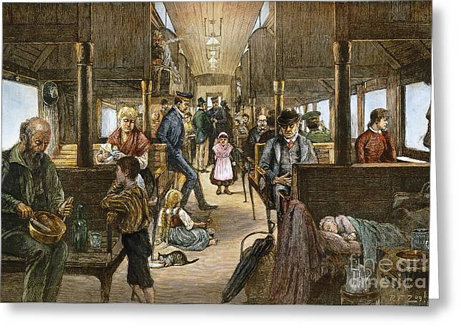 Westward Expansion Greeting Cards - Emigrant Coach Car, 1886 Greeting Card by Granger