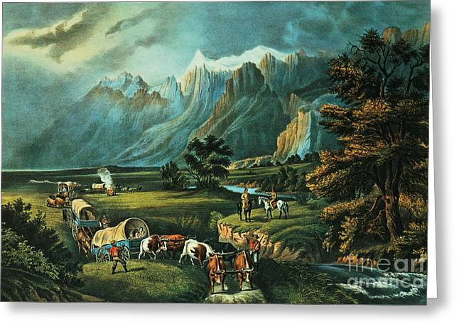 The Plains Greeting Cards - Emigrants Crossing the Plains Greeting Card by Currier and Ives