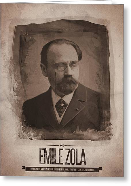 Emile Zola Greeting Card by Afterdarkness