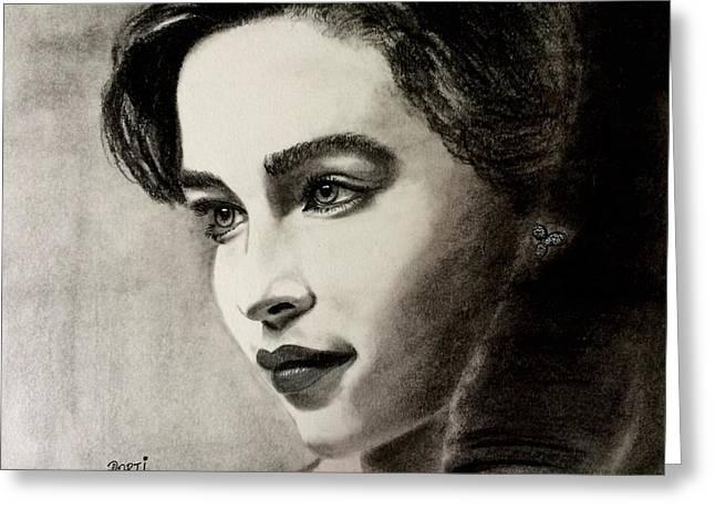 British Portraits Greeting Cards - Emilia Clarke  Greeting Card by Aarti Bartake