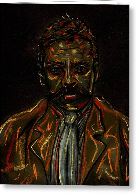 Revolutionary Pastels Greeting Cards - Emiliano Zapata Greeting Card by Americo Salazar