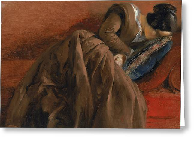 Cushion Paintings Greeting Cards - Emilie the Artists Sister Asleep Greeting Card by Adolph Friedrich Erdmann von Menzel