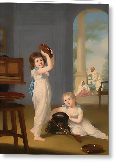 Playing Musical Instruments Greeting Cards - Emily And George Mason Greeting Card by Arthur William Devis