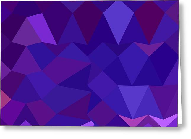 Violet Blue Greeting Cards - Eminence Purple Abstract Low Polygon Background Greeting Card by Aloysius Patrimonio