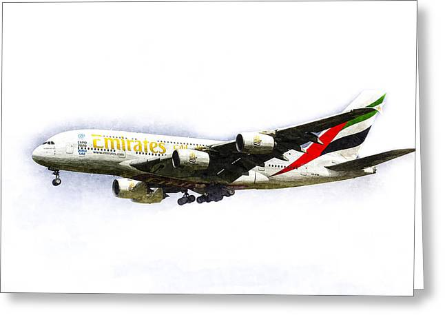 A380 Greeting Cards - Emirates Airline A380 Art Greeting Card by David Pyatt