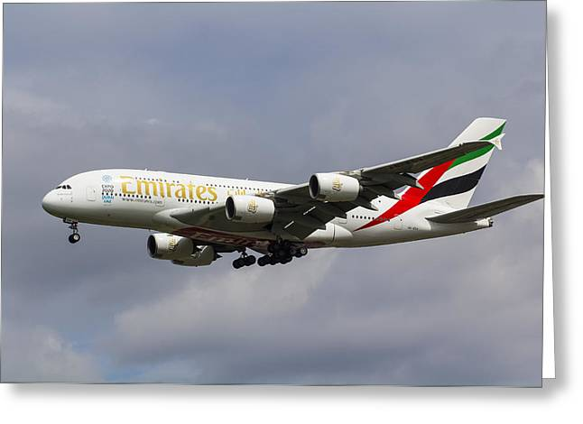 A380 Greeting Cards - Emirates Airlines A380 Greeting Card by David Pyatt