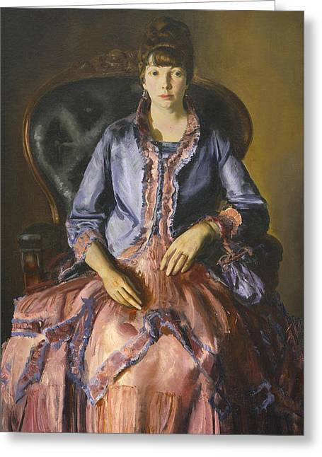 Emma In A Purple Dress Greeting Card by George Bellows